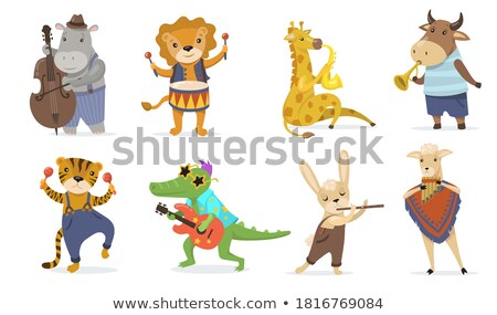 Mascotte muziek leeuw drums dier illustratie Stockfoto © lenm