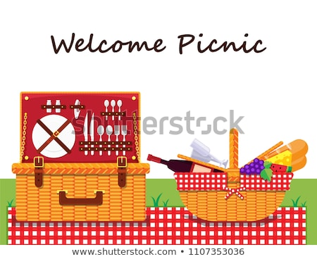 Cesta de picnic placa alimentos viaje rock cena Foto stock © IS2