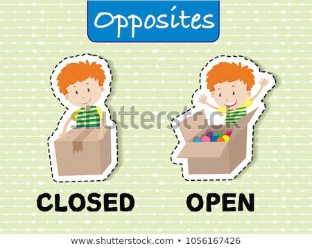 Tegenover woorden gesloten Open illustratie kind Stockfoto © bluering