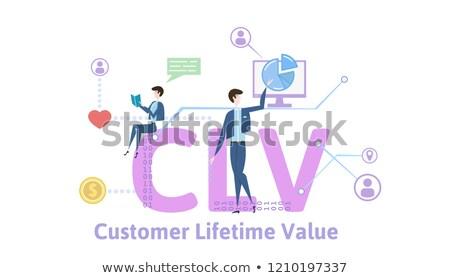 vásárló · érték · fiatal · nő · sajtó · digitális · gomb - stock fotó © mazirama
