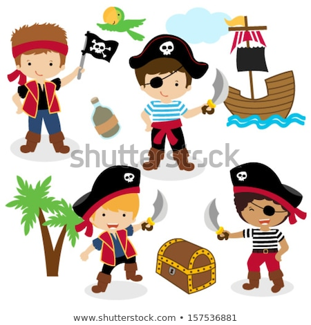 a pirate with kids on island stock photo © bluering