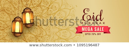 awesome eid sale banner header with hanging lanterns Stock photo © SArts