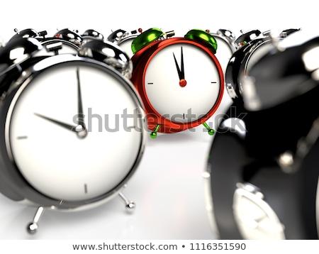 kırmızı · eski · stil · çalar · saat · yalıtılmış · beyaz - stok fotoğraf © nobilior