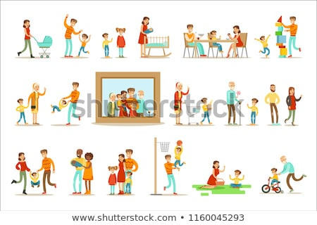 family vector full family portrait dad mother kids grandparents poster advertising template stock photo © pikepicture