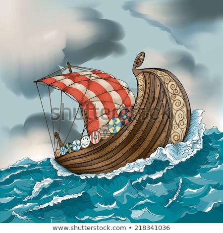 Cartoon vikingo Pareja ilustración tomados de las manos amor Foto stock © cthoman