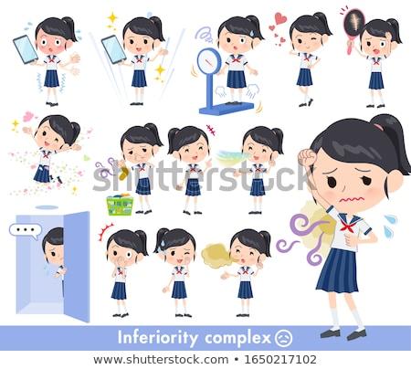 Iskolás lány matróz nők haj diákok kommunikáció Stock fotó © toyotoyo