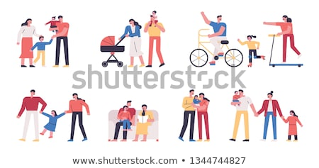 Kids Children Set Vector. Baby Lifestyle Situations. Spending Time Together At Home, Outdoor. Isolat Stock photo © pikepicture