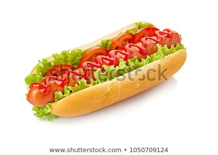 Hot dog insalata ketchup bianco fumetto Foto d'archivio © rogistok
