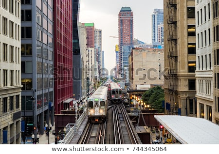 Spoorweg trein Chicago USA gebouw wolkenkrabber Stockfoto © vwalakte