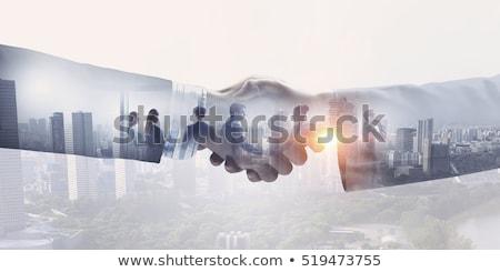 Foto stock: Socios · apretón · de · manos · carga · estantería · reunión · cuadro