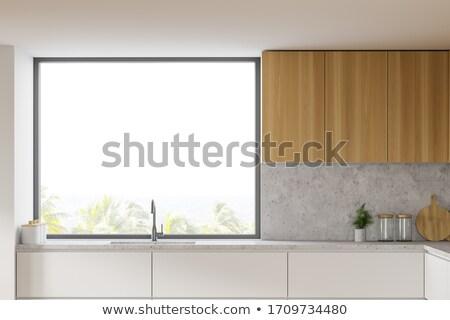 Fából készült konyha szoba kő gránit rozsdamentes acél Stock fotó © iriana88w