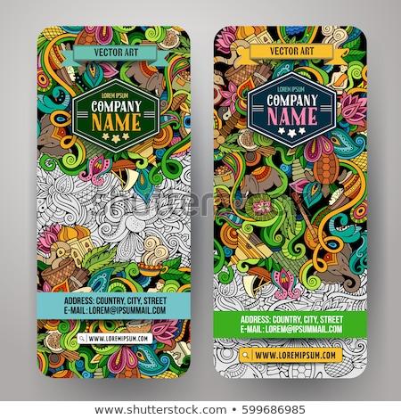 India hand drawn doodle banners set. Cartoon detailed flyers. Stock photo © balabolka