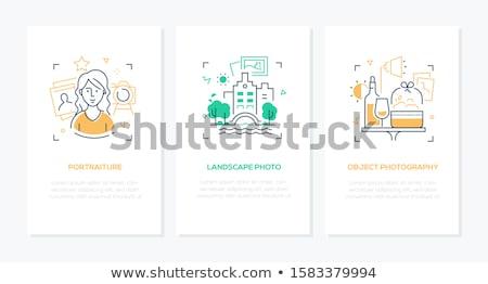 Foto stock: On-line · projeto · moderno · linha · estilo · ilustração