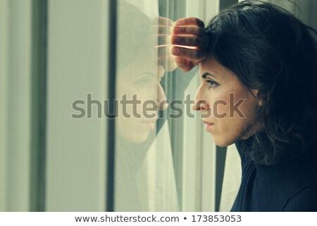 30 rok staruszka okno twarz świetle Zdjęcia stock © Lopolo