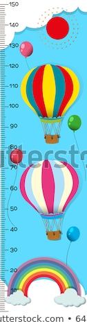 Measuring height scales on paper with balloons in sky Stock photo © colematt