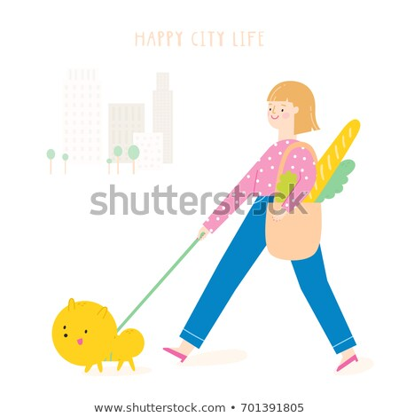 shopping woman walking dog shoppers on store stock photo © robuart