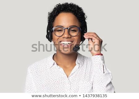 Stockfoto: Vrouwelijke · jonge · Blauw · connectiviteit · vrouw · glimlach