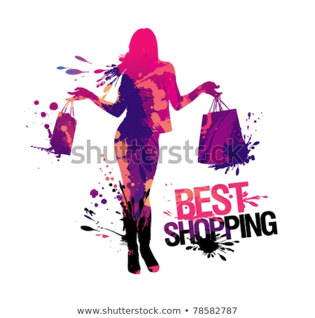 Shopping Women in Shops and Clothes Stores Vector Stock photo © robuart