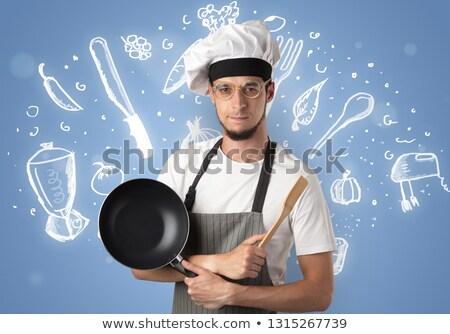 Jungen Koch Kreide gezeichnet Suppe Rezept Stock foto © ra2studio