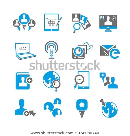 közösségi · média · hálózat · ikon · gyűjtemény · földgömb · térkép · ikon · szett - stock fotó © robuart