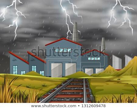 noc · krajobraz · przemysłowy · stylizowany · bezszwowy · krajobraz · technologii - zdjęcia stock © bluering