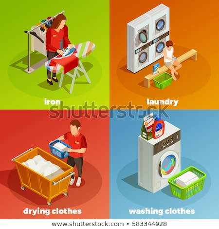 laundry color isometric concept icons stock photo © netkov1