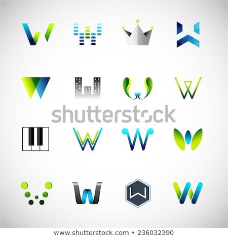 Kék fekete négyszögletes fényes i betű absztrakt Stock fotó © cidepix