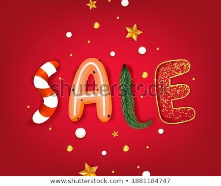 White Snowflakes Header Winter Sale 3 Price Stickers Stock photo © limbi007
