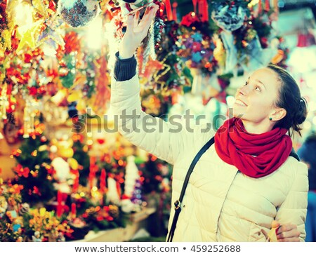 Christmas Fair, Market with Shop and Customer Stock photo © robuart