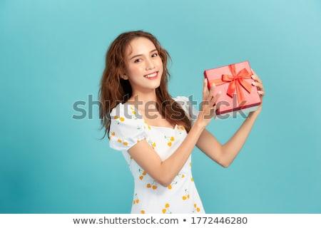 animado · asiático · bela · mulher · isolado · azul - foto stock © deandrobot