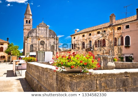 Stock photo: Village of Svetvincenat ancient square and church view