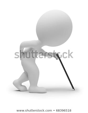 3D pequeno pessoas muletas pessoa imagem Foto stock © AnatolyM