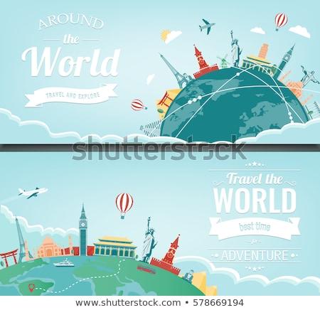 légy · körül · világ · légitársaság · kereskedelmi · hirdetés - stock fotó © biv