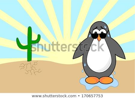 Caldo estate blu pinguino sudorazione illustrazione Foto d'archivio © Blue_daemon