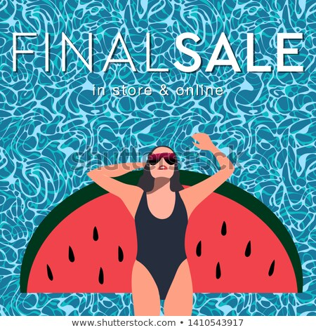 Final summer sale. Young long-haired girl sunbath in the swimming pool, vector flat illustration. Stock photo © ikopylov