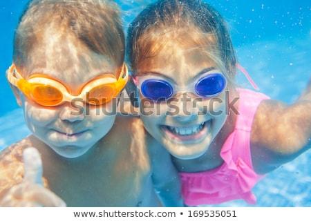 クローズアップ 水中 肖像 2 かわいい 笑みを浮かべて ストックフォト © galitskaya