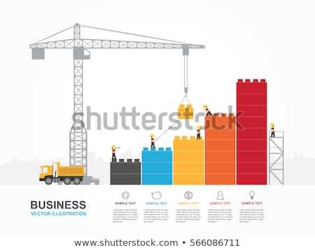man with blocks construction of building vector stock photo © robuart