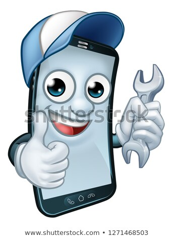 Mobile Phone Repair Spanner Thumbs Up Cartoon Stock photo © Krisdog