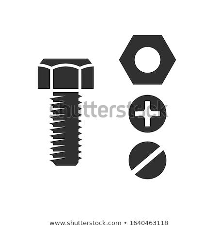 vektor · fém · csavar · illusztráció · ikon · vasaló - stock fotó © angelp