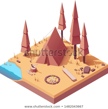 Vector isometric campsite in autumn Stock photo © tele52