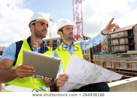 ingenieurs · praten · kantoor · werken · planning · blauwdruk - stockfoto © pressmaster