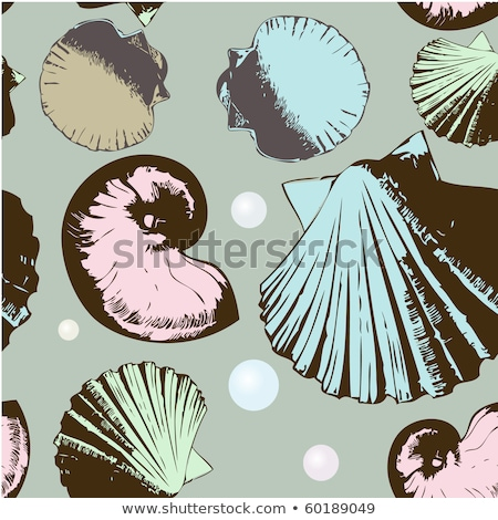 Brown Line Art Shell and Pearl Cartoon on a Beige Background Stock photo © cidepix