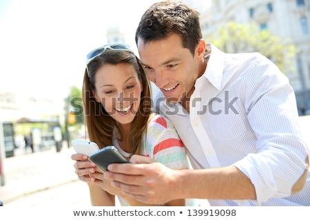 幸せ カップル スマートフォン 夏 旅行 観光 ストックフォト © dolgachov