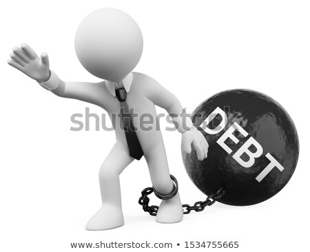 3d white people businessman dragging his debts stock photo © texelart
