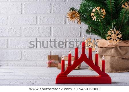 Tradycyjny świecznik siedem świece świetle drzewo Zdjęcia stock © furmanphoto