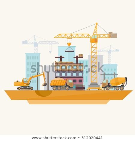 Modern építkezés gép épület üzlet közlekedés Stock fotó © RAStudio