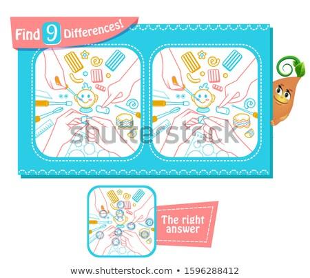 Handgemaakt spel verschillen kinderen volwassenen taak Stockfoto © Olena