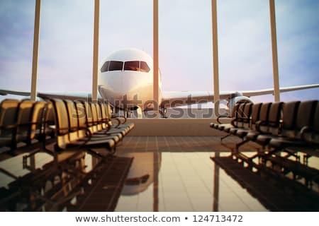 Aeropuerto vacío sillas espera salida moderna Foto stock © artjazz