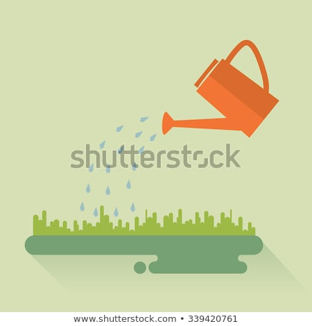 Watering can. Flat color icon. Gardening vector illustration Stock photo © Imaagio