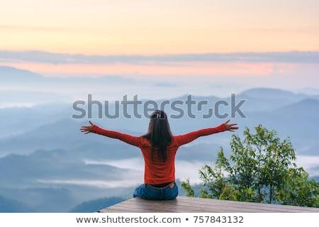 Hiking woman enjoying the freedom of a mountainous landscape Stock photo © Kzenon